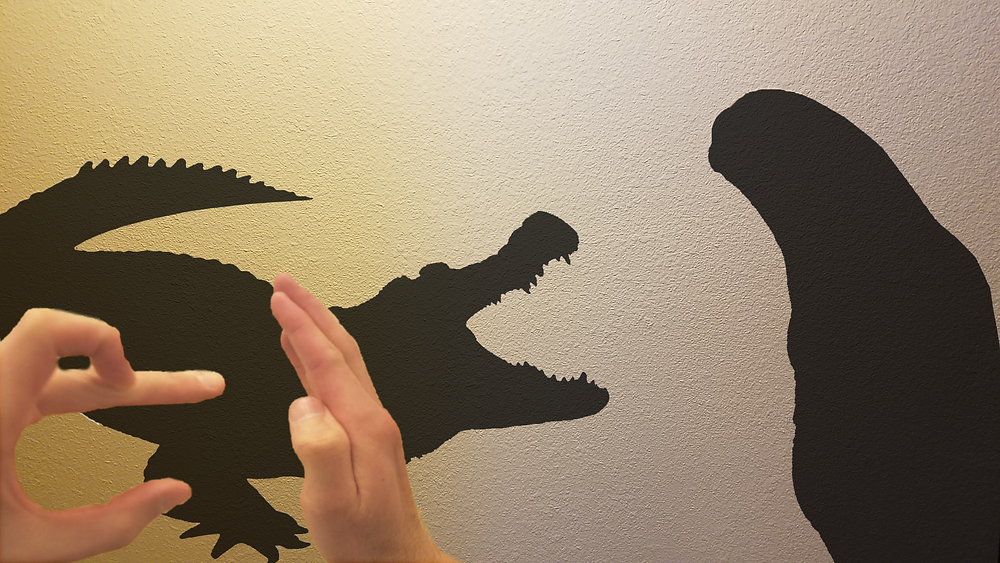Hand gestures leave shadows on the wall. The shadows are a glob that appears to be a geoduck, and the other very clearly is an alligator.