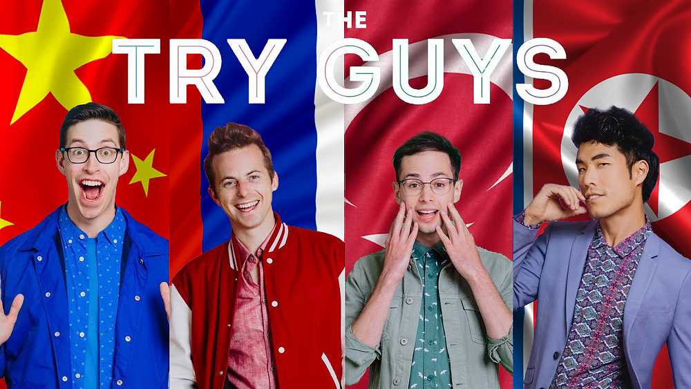 The Buzzfeed Try Guys stand in front of the flags of countries they are visiting in this article.