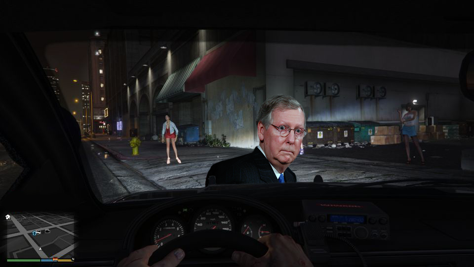 Mitch McConnell has a look of fright in the headlights of a car from Grand Theft Auto 5