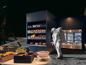 Astronaut meanders through the small gift shop on the moon