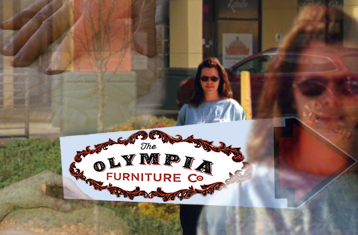 A young girl holds a Olympia Furniture company sign. She has a very slight smile. Translucent pictures of hands touching furniture are present.