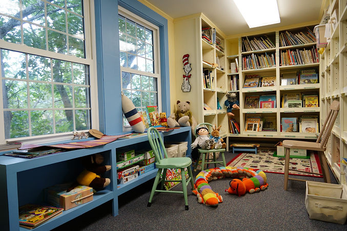 Library Children's Room showing books, small chairs, toys and games