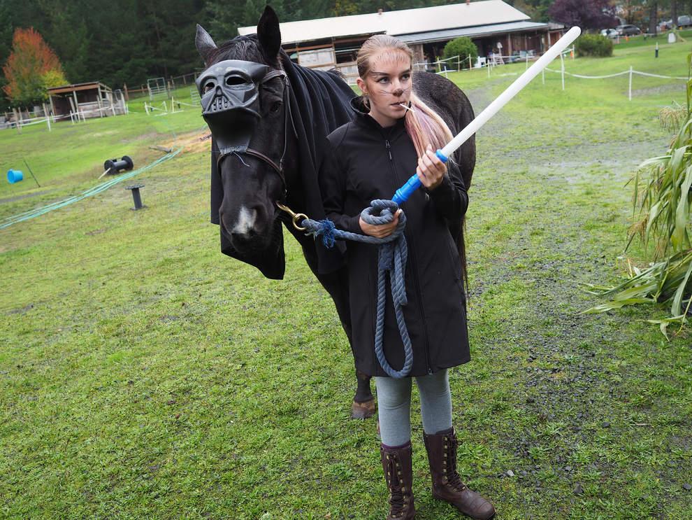 Volunteer, Morgan Williams, 14, of Eugene, looks after Diamond,