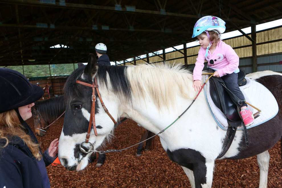 Baylee Gregory, 3, rides Kitty the horse. Kitty was rescued from neglect and now is a gentle steed p