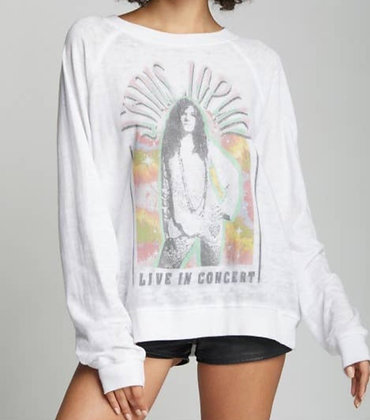 Janis Joplin White Burnout Sweatshirt