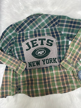 Youth Small Upcycled Jets Flannel