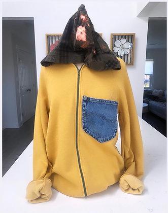 Mustard Upcycled Zip Up Hoodie