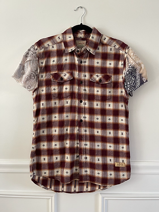 Flannel With Bandana Puff Sleeve