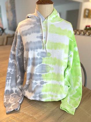 Adult Gray & Lime Tie Dye Hoodie - Medium