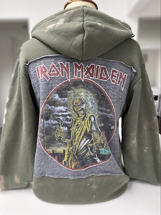 Adult Iron Maiden Upcycled Zip