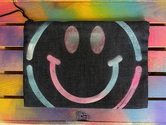 Smiley Denim Pouch