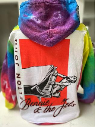 Upcycled Elton John Pullover Hoodie - medium