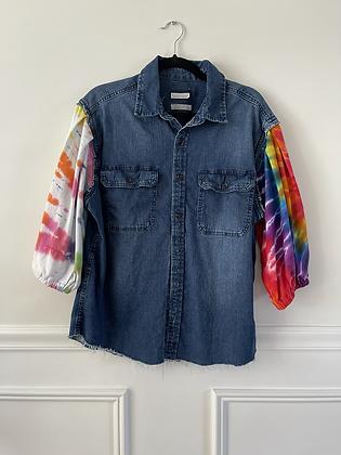Denim Shirt With Tie Dye Puff Sleeves