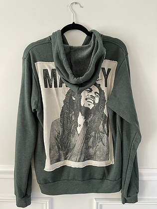 Green Bob Marley Upcycled Zip