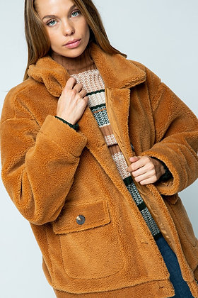 Oversized Camel Teddy Coat