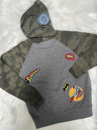 Youth Small Camo & Patch Hoodie