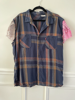 Flannel With Bandana Puff Sleeve