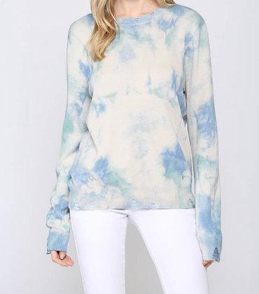 Aqua Tie Dye Distressed Sweater