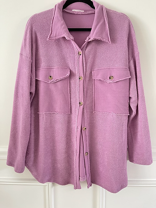 Oversized Lilac Terry Button Up Shirt