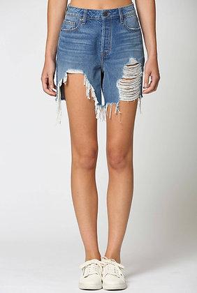 Distressed Mom Denim Shorts