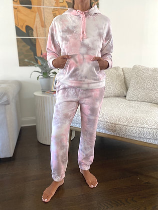 Pink & Grey Tie Dye Sweats Set