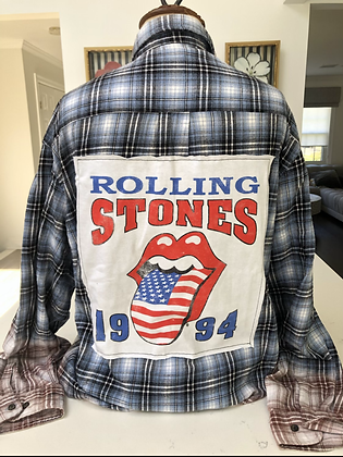 Upcycled Rolling Stones Flannel