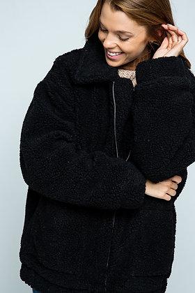 Black Zip Teddy Coat