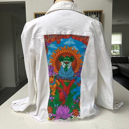 Womens MEDIUM - White Dead Head Jacket