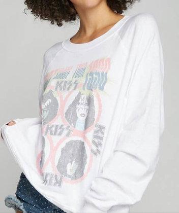 Kiss White Burnout Sweatshirt