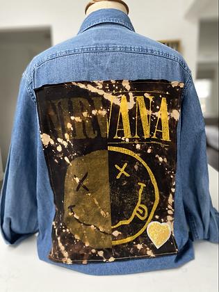 Upcycled Nirvana Denim Shirt