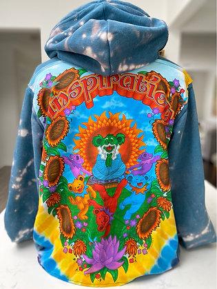Upcycled Dancing Bears Pullover Hoodie - medium