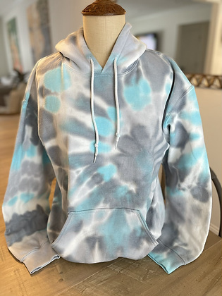 Adult Blue & Gray Tie Dye Hoodie - Medium