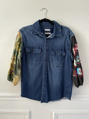 Denim Shirt With Puff Band Tee Sleeves