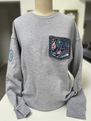 Gray/Silk Flower Pocket Crew