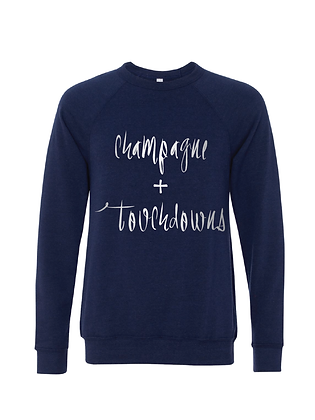 Champagne + Touchdowns Navy/Silver