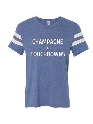 CHAMPAGNE + TOUCHDOWNS (BLUE/IVORY)