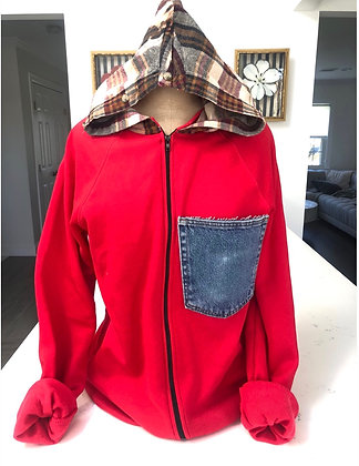 Luxe & Hazel Upcycled Red Zip Up