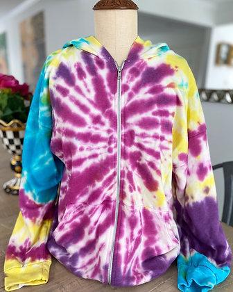 Women's Tie Dye Zip Up Sweatshirt