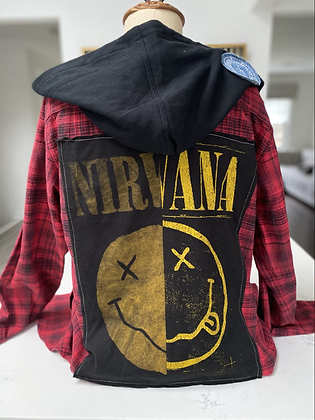 Adult Nirvana Upcycled Flannel w. Hood