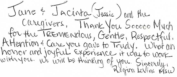 A thank you note to our staff from a family member of a resident.
