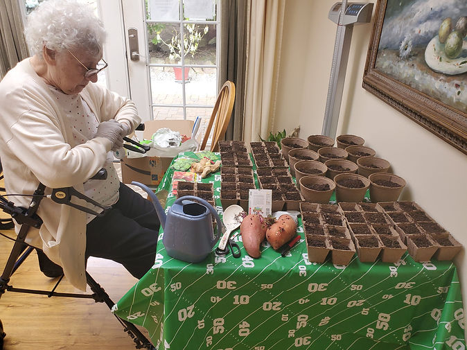 One of our residents tending to the vegetable plants.