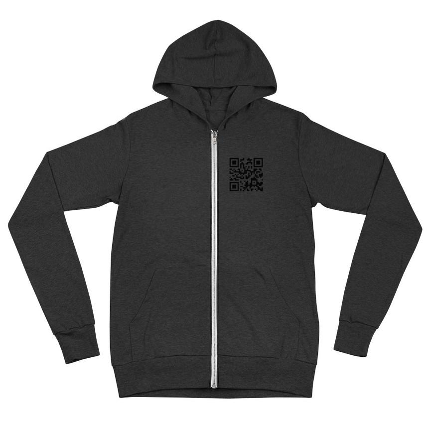 unisex- QR code lightweight-zip-hoodie-charcoal-b
