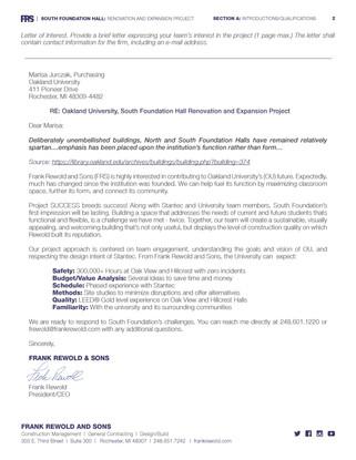 FRS_OU_South Foundation Hall_RFP Respons