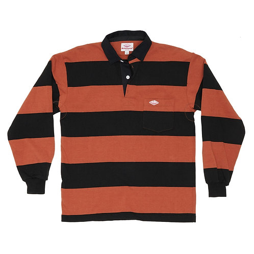 Battenwear- Pocket Rugby Shirt, Rust x Black 4-in Stripe