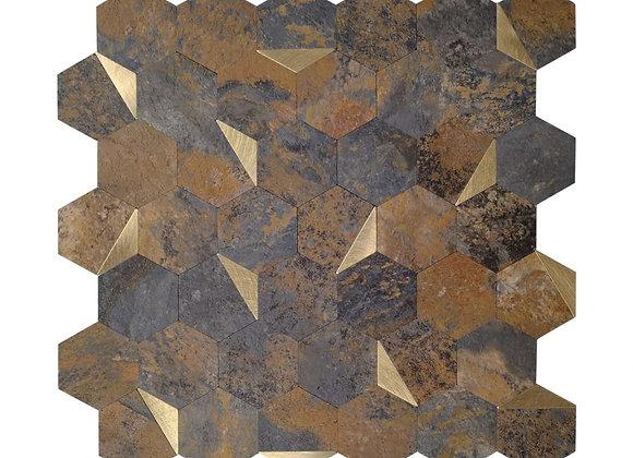 Zelfklevende Tegel Brons Goud (28.8*28.8cm) - Mozaiek Steenstrips