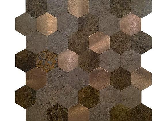 Zelfklevende Tegel Hexagon Koper (28.8*28.8cm) - Mozaiek Steenstrips