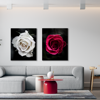 Red and white roses diptych