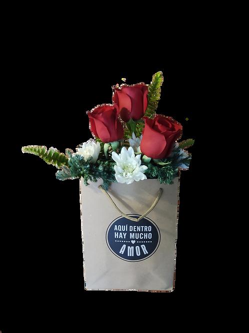 Bolsa 3 rosas + follaje +mensaje