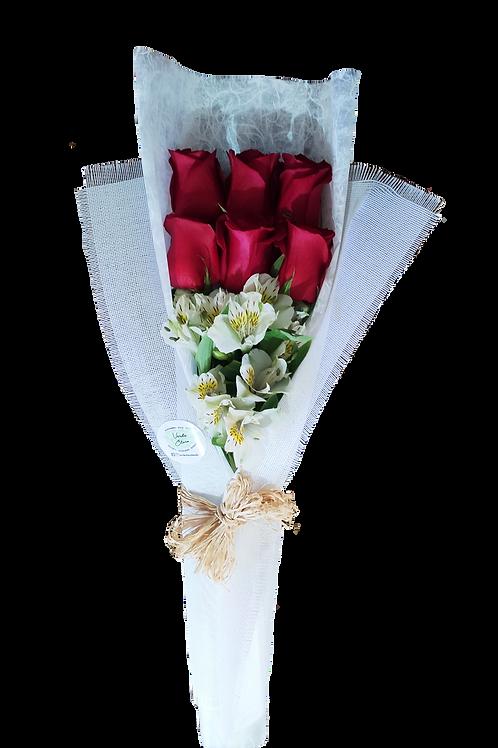 Ramo 6 rosas + alstromelias