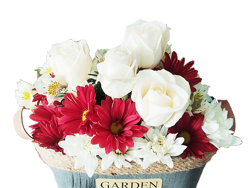 Arreglo garden 4 rosas + maule + alstromelias
